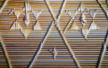 Detail of a variation in the coiling technique used for making table mats and coasters.
